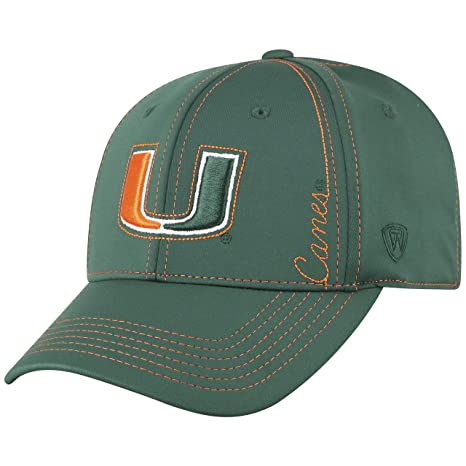 pretty nice 05a82 c1936 Image Unavailable. Image not available for. Color  Top of the World Miami  Hurricanes Official NCAA One Fit Learning Curve Hat Cap 450513