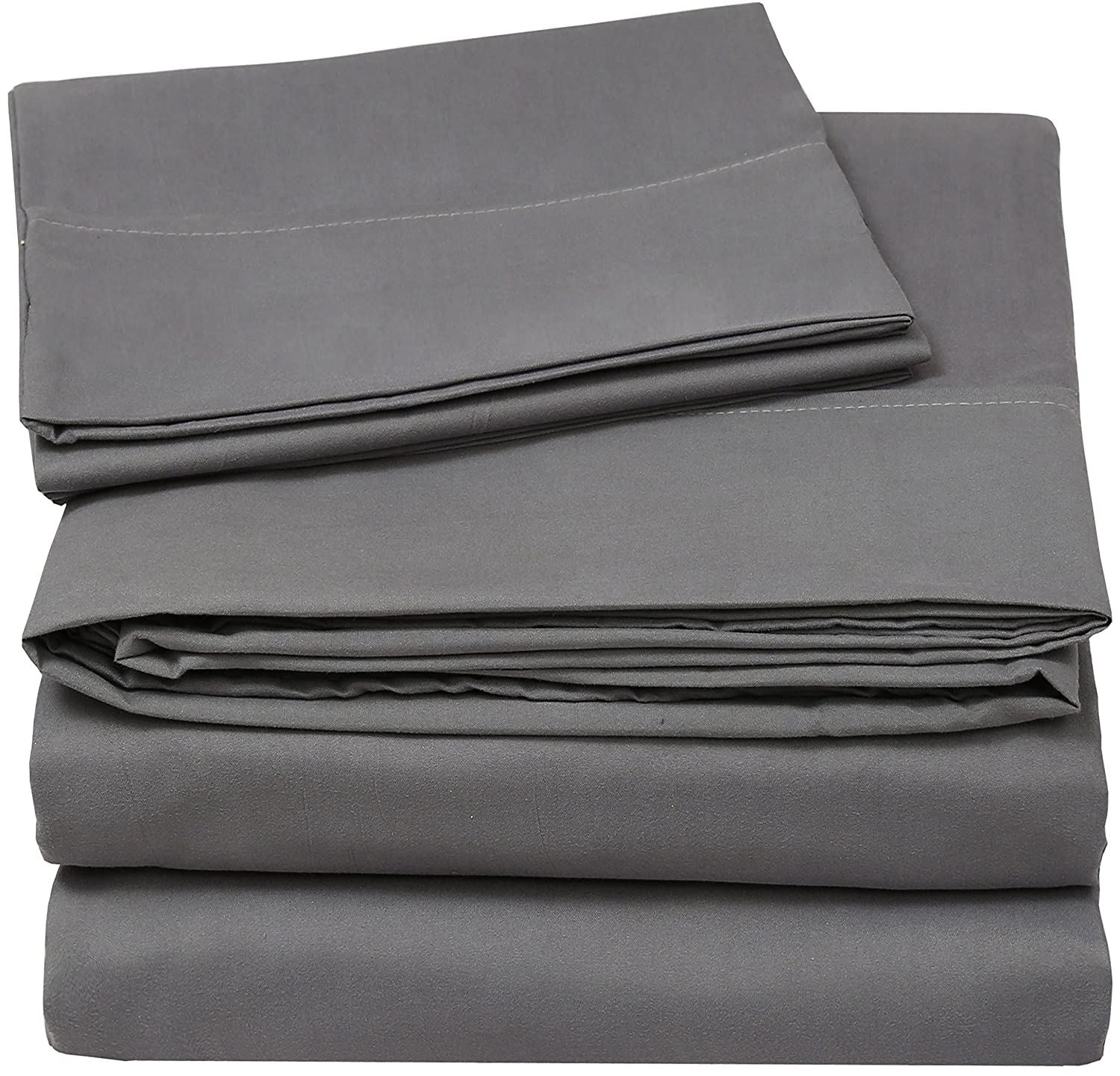 Utopia Bedding Soft Brushed Microfiber Wrinkle Fade and Stain Resistant 3-Piece Sheet Set - Grey