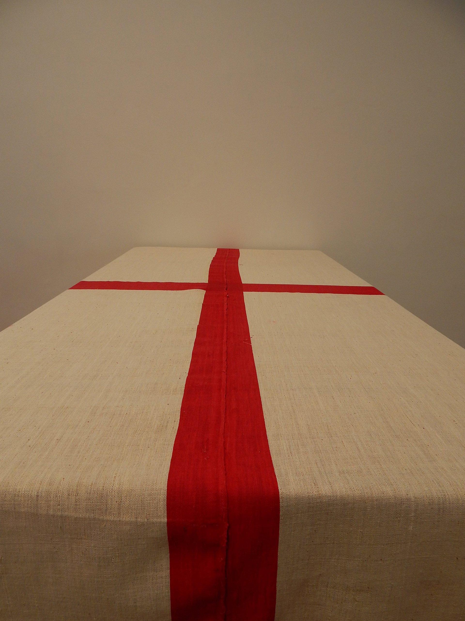 Gitika Goyal Home Cotton Khadi Silver Screen Printed Tablecloth with Square Design, white, 72'' x 72''