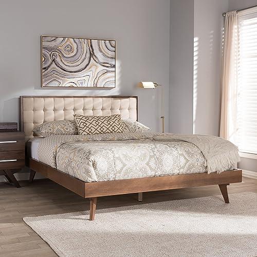 Baxton Studio Soloman Mid-Century Modern Light Beige Fabric and Walnut Brown Finished Wood King Size Platform Bed/King/Mid-Century/Beige/Medium Wood/Fabric Linen Polyester 100 /Rubber Wood/MDF/Foam