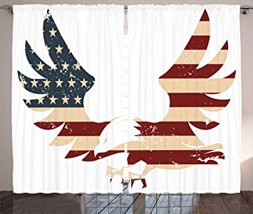 American Decor Curtains By Ambesonne, Patriotic Themed Home Of Brave Land  Of Free USA Bold