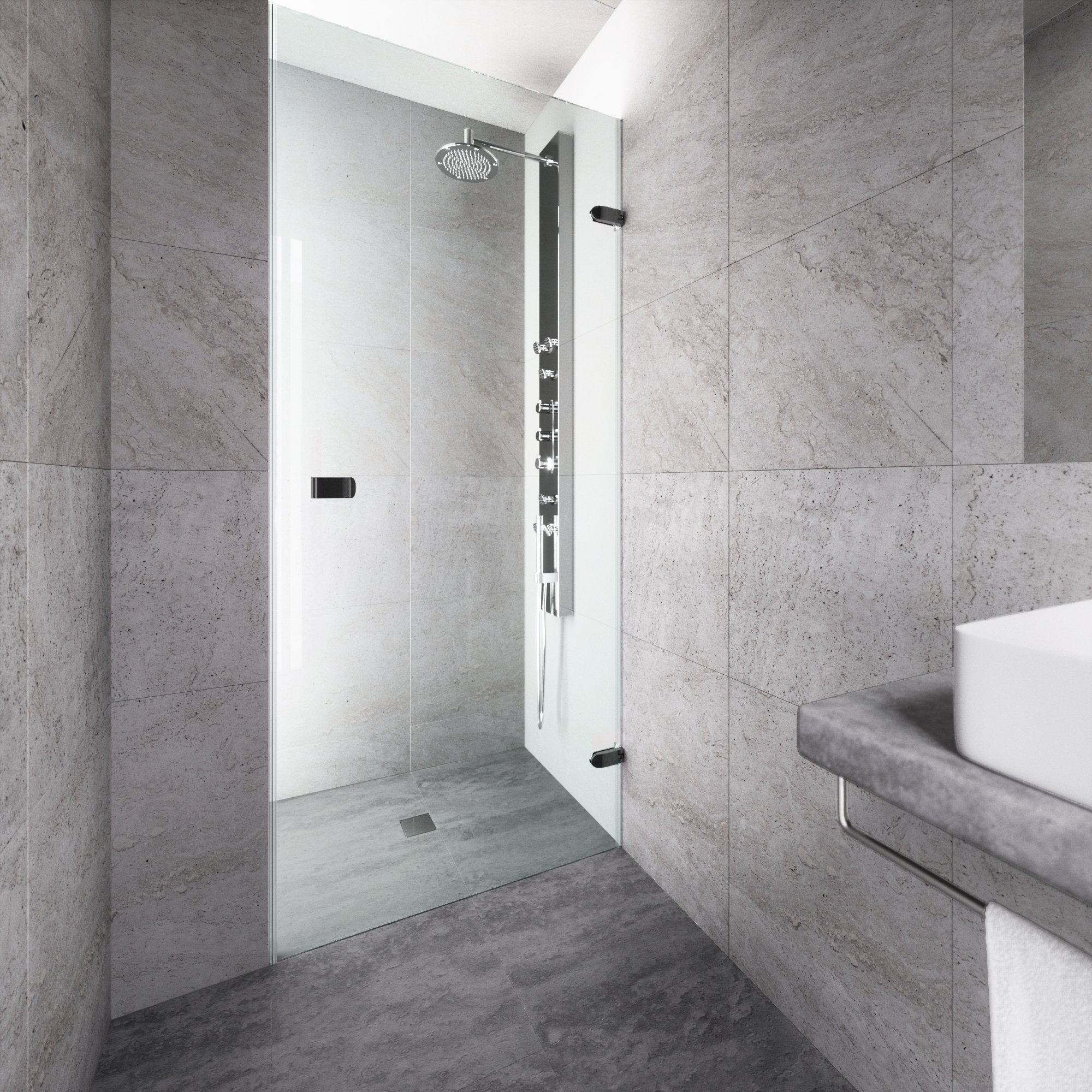 VIGO Tempo 30 to 30.5-in. Adjustable Frameless Shower Door with .3125-in. Clear Glass and Matte Black Hardware
