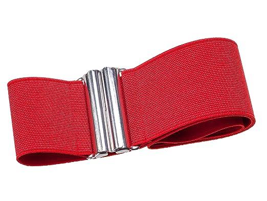 7bb4bfb2f58cba Stretchgürtel ROT 6 cm elastischer Taillengürtel Stoffgürtel mit solider  silberfarbener Schnalle XS 32-34