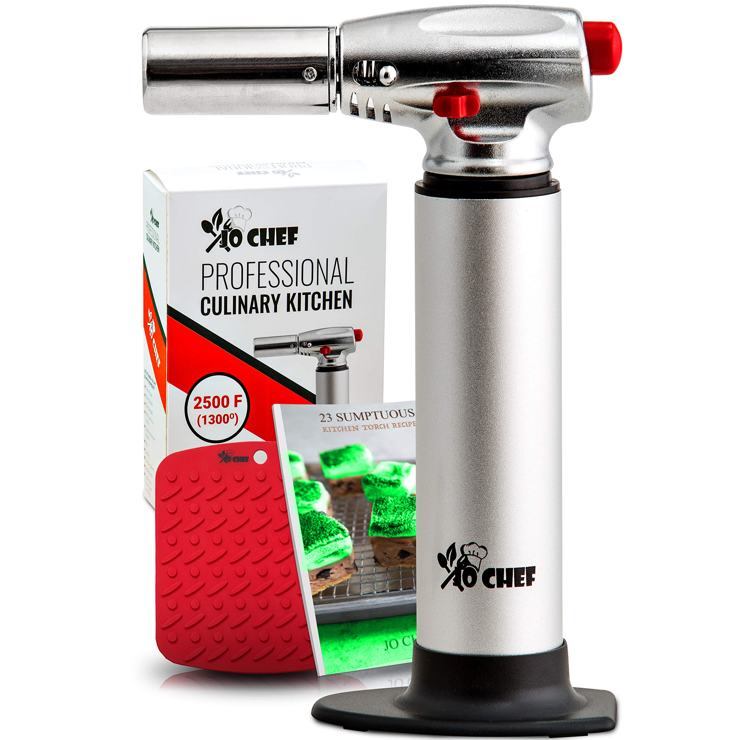 Jo Chef Professional Culinary Torch - Aluminum Refillable Crème Brulee Blow Torch - Butane Torch With Adjustable Flame - Perfect for Cooking, Baking, Crafts, BBQs - FREE Place Mat + Recipe eBook