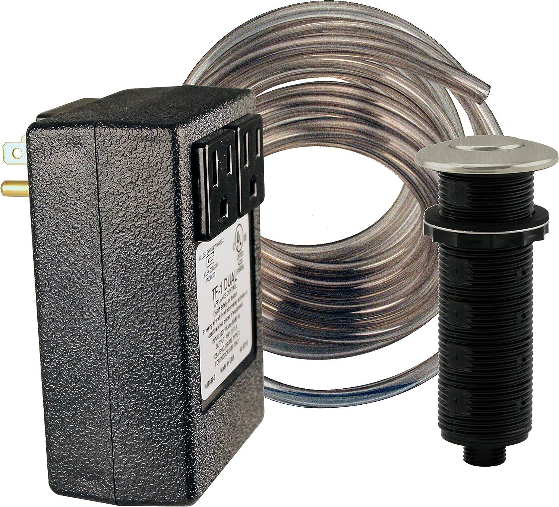 Westbrass RASB-2B3-07 Flush Button Air Switch & Dual Outlet Box, Satin Nickel