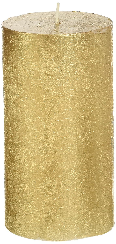 Candela D'Aurora Era Cero Ruvido Laccato, Cera, Oro, 6.8x6.8x13 cm Munus International Srl 858