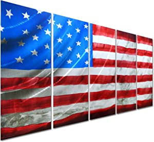 Pure Art American Flag - USA Country Themed Metal Wall Art Decor - Contemporary Set of 5 Panels of 64