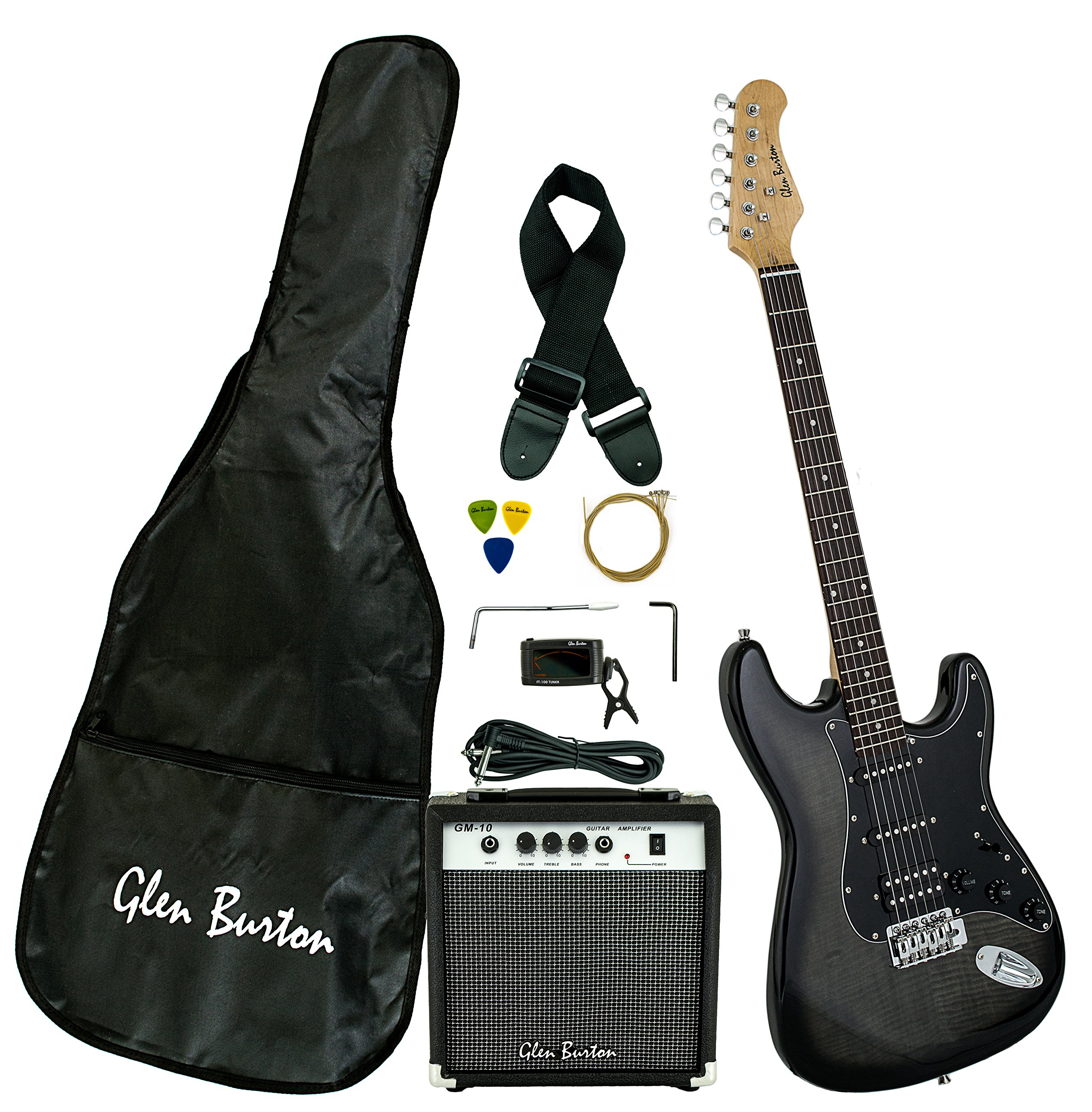 Glen Burton GE101BCO-BKB  Electric Guitar Stratocaster-Style Combo with Accessories and Amplifier, Black by Glen Burton