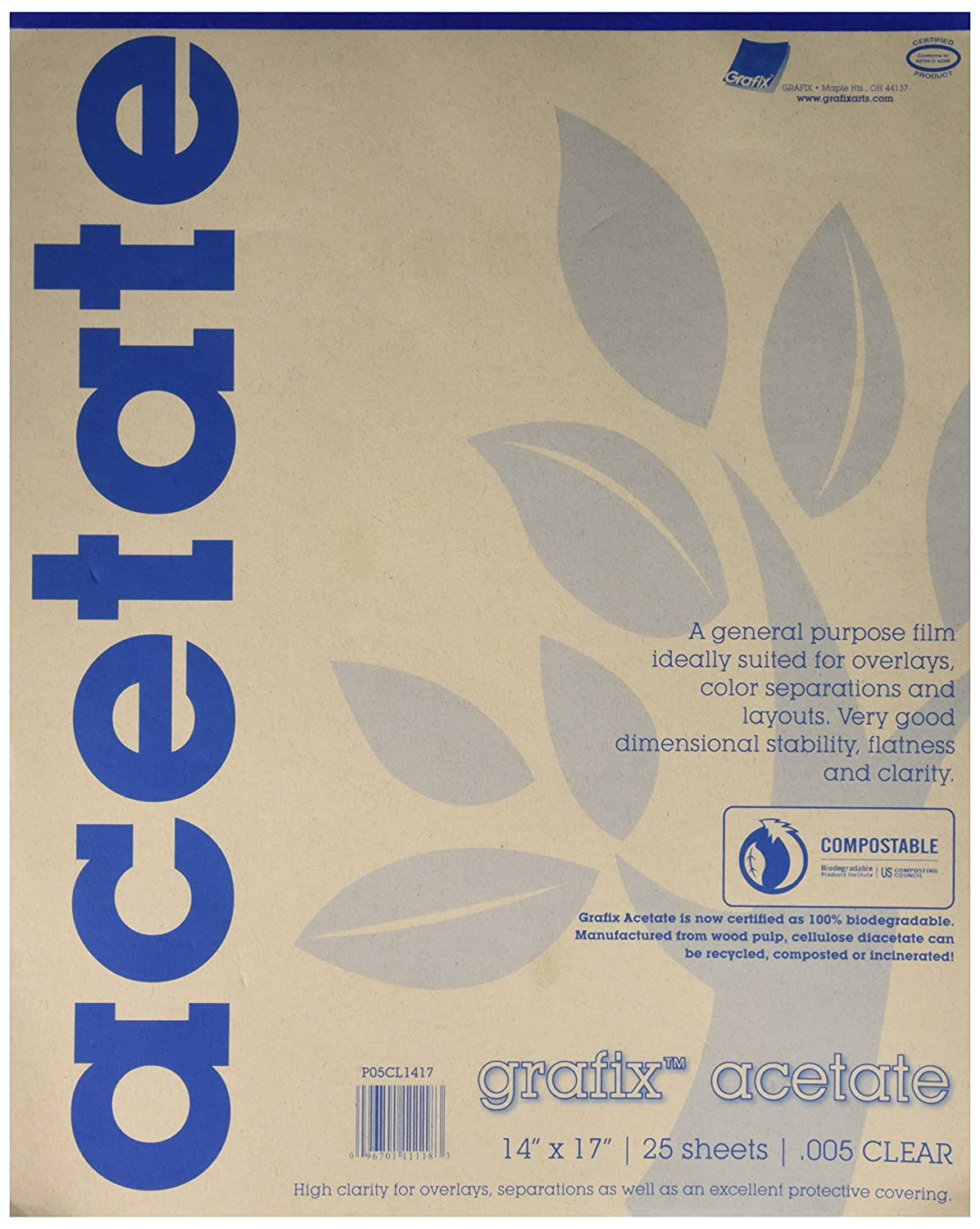 Grafix 14 x 17 Inches Biodegradable Clear Acetate 25 Sheets - 5CL1417