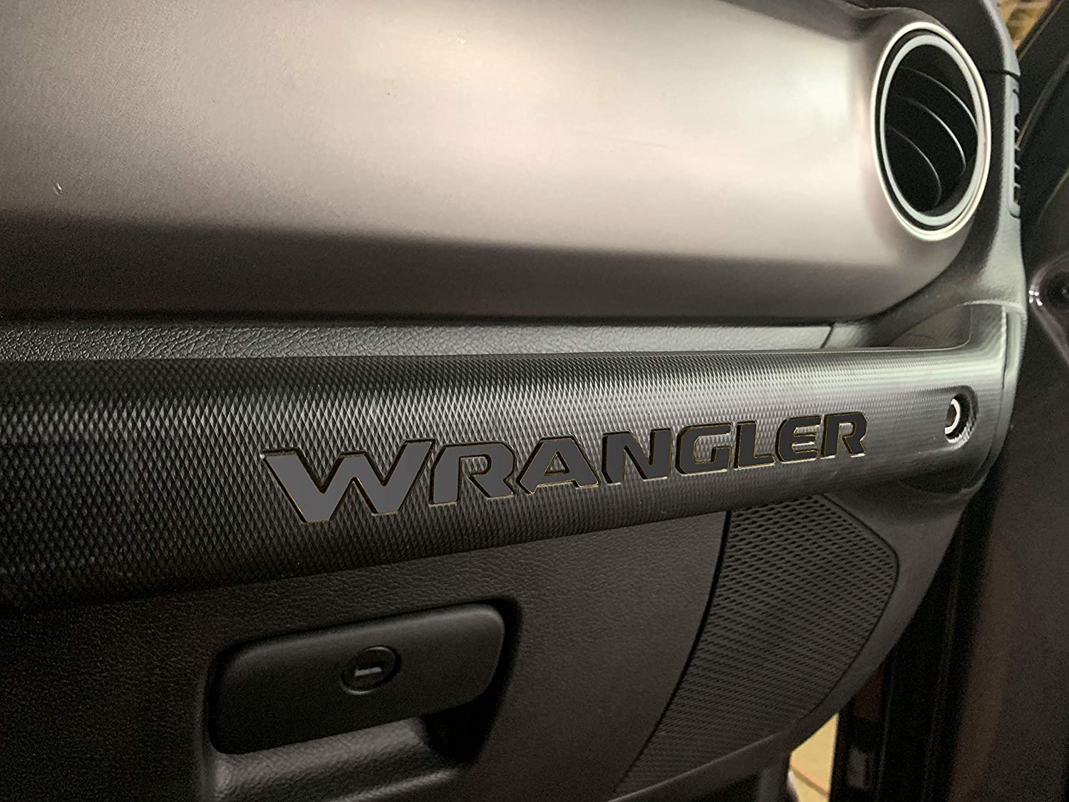 SF Sales USA Dark Chrome Dashboard Letters for Wrangler 2018 Glovebox ABS Inserts Not Decals