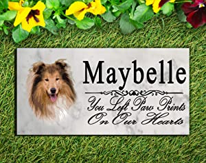 Broad Bay Collie Dog Memorial Stone Personalized Collie Sign Garden Marker Outdoor Grave Headstone Plaque