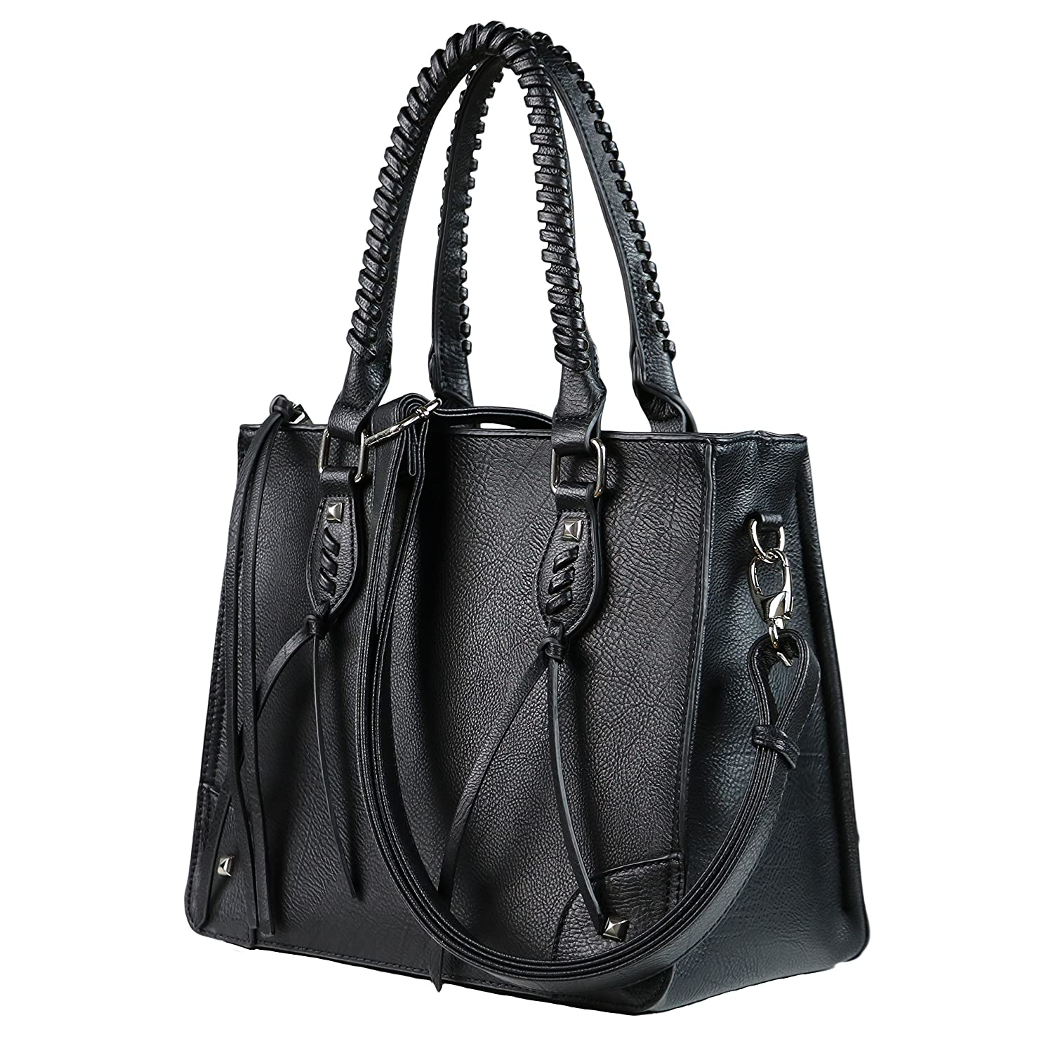 Concealed Carry Weapon Purse - YKK Locking Amy Studded Satchel by Lady  Conceal (Black)  Handbags  Amazon.com ce479736f435d