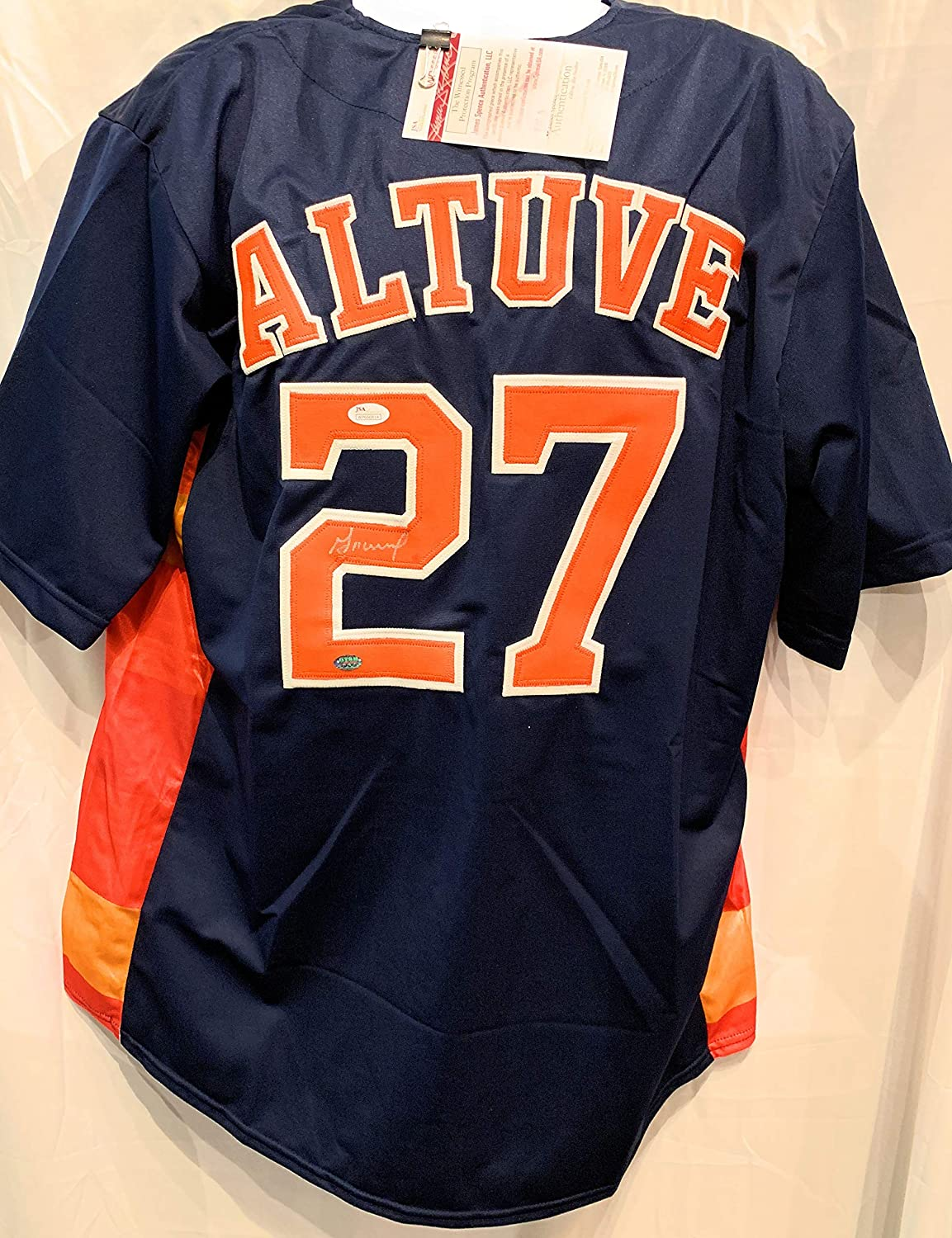 Jose Altuve Houston Astros Signed Autograph Blue Custom Jersey GTSM JSA Certified