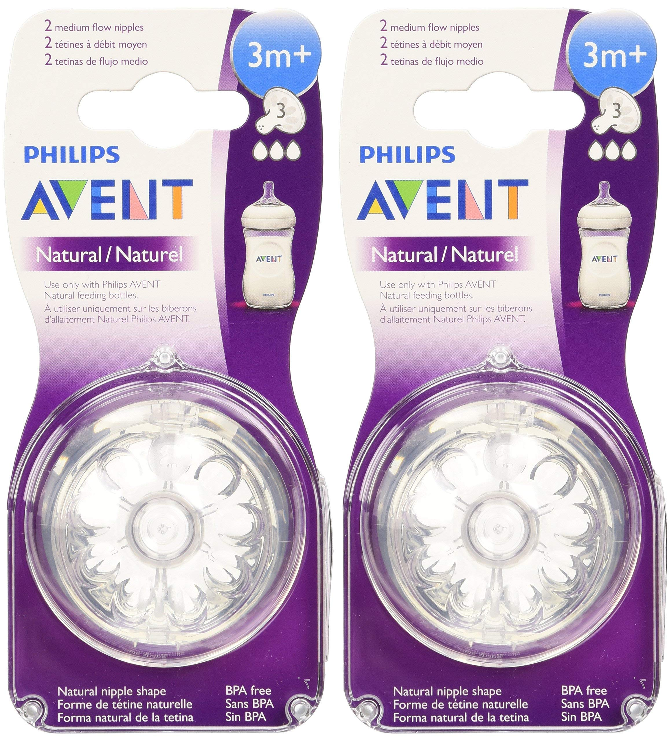 Philips Avent Natural Nipple Medium Flow - 4 Pack by Philips AVENT