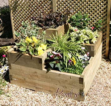 Raised Bed Planter Wooden Timber Grow Your Own Vegetables Garden Allotment 3 Tier Raised Bed