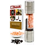 The Original SpiceCrafts Salt and Pepper Grinder Set, Stainless Steel with Recipe eBook & Guide, Pure Ceramic Grinders, Dual Mill
