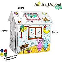 Grande Maison en Carton à Peindre Kit Peinture Inclus - A Parti de 2ans - Smith&Dupont Fun! (Les Lapins Fous)