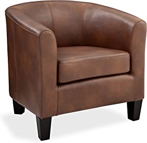 Grafton Joseph Faux Leather Barrel Chair One Size Saddle