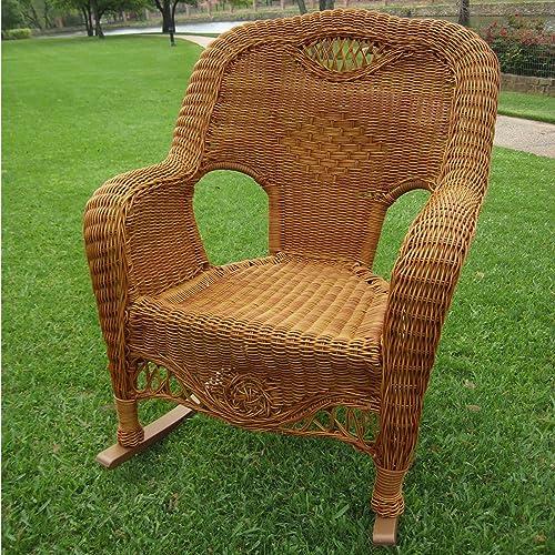 International Caravan Furniture Piece Resin Wicker Indoor Outdoor Rocker