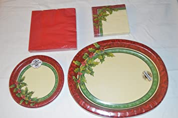 Festive Greenery Paper Plates and Napkins Bundle for 8 People & Amazon.com: Festive Greenery Paper Plates and Napkins Bundle for 8 ...