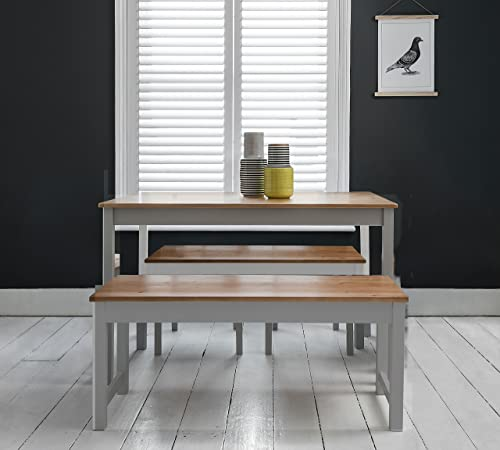 Dining Table And Chairs Canterbury White And Dark Pine: Table And 5 Chairs And Bench Canterbury Dining Table In