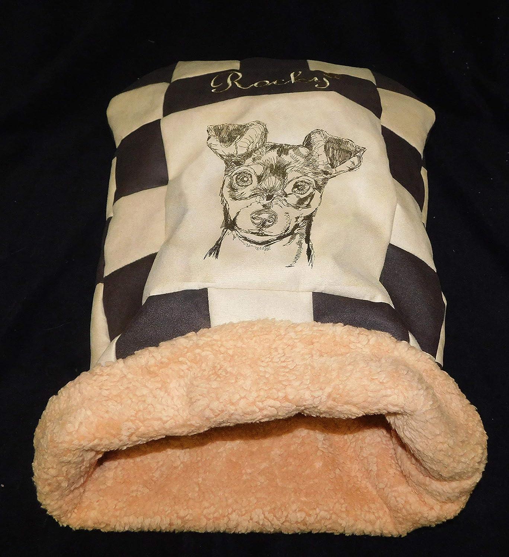 LunaChild Hunde Individuelle Kuschelhöhle Prager Rattler 2 Pinscher Zwergpinscher Hundebett Name Snuggle Bag Größe S M L oder XL in vielen Farben erhältlich