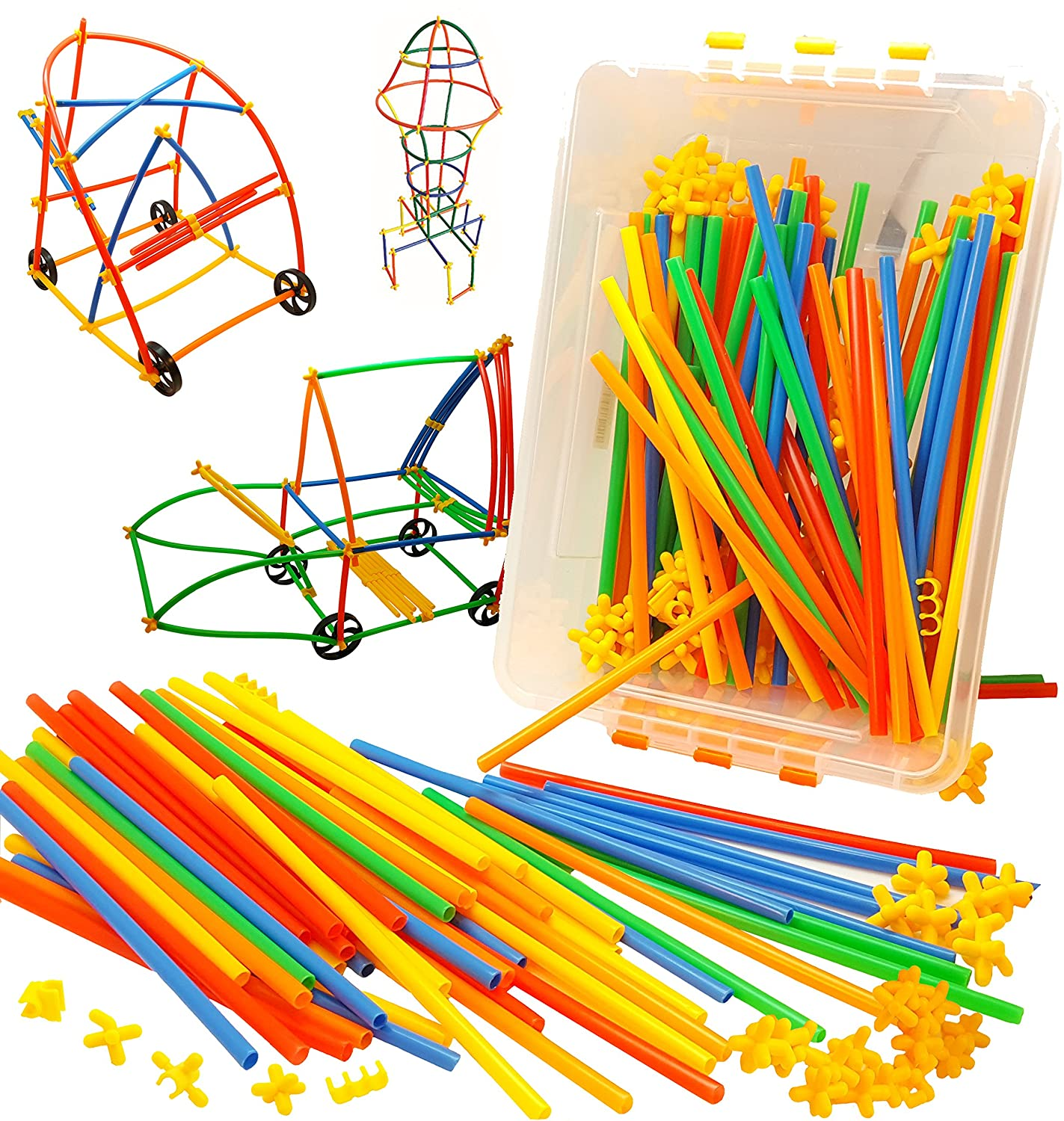 Wheels, Straws and Connectors Stem Toys - Skoolzy Kids Educational Toys for 3, 4, 5, 6 Year Olds - 400pc Fine Motor Skills Engineering Toys For Girls, Boys Building Kits Tinker Design Activities Set Review