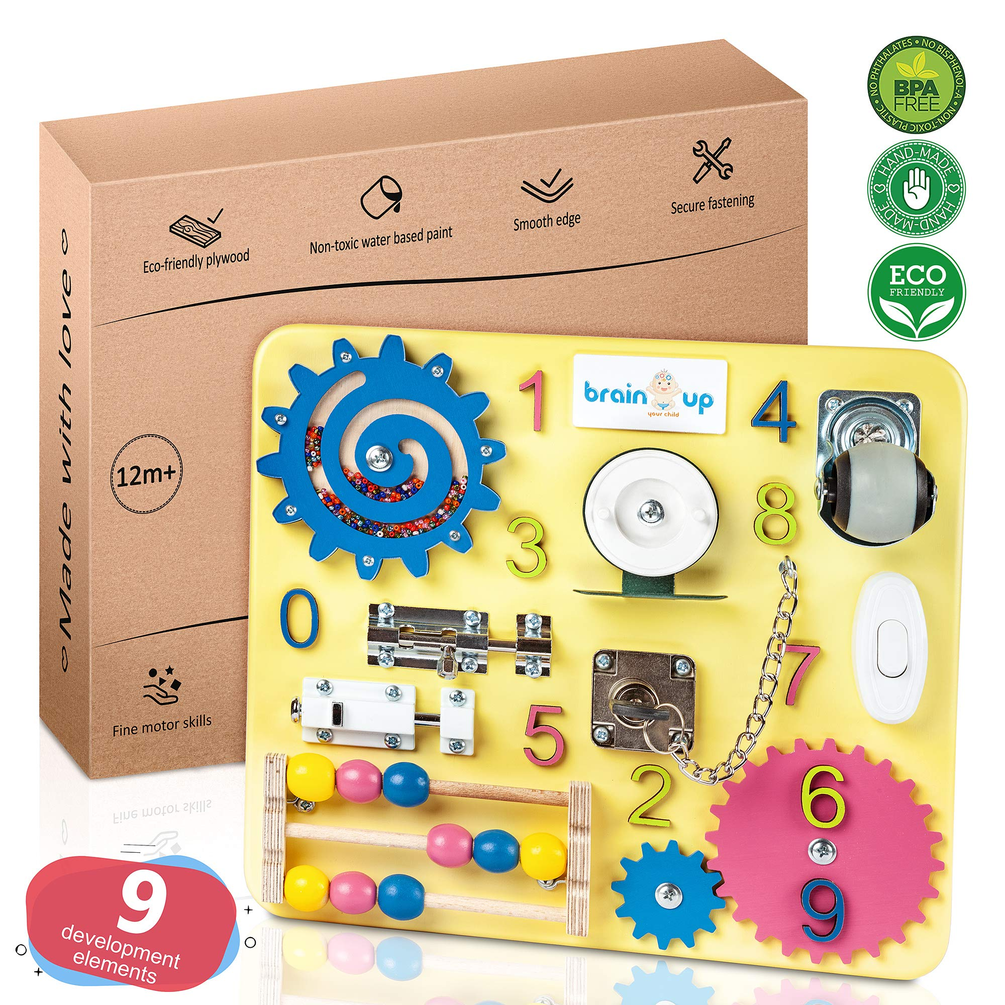 Busy Board - Busy Board for Toddlers - Sensory Board - Busy Board for Kids - Activity Board for Toddlers - Locks and latches Activity Board - Baby Activity Board - Boy and Girl 12-18 Month by Brain Up Toys
