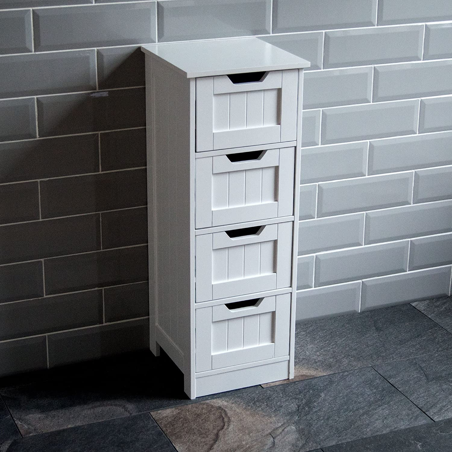 Bath Vida 5-Drawer Floor Standing Cabinet Unit Bathroom Storage, Wood, White