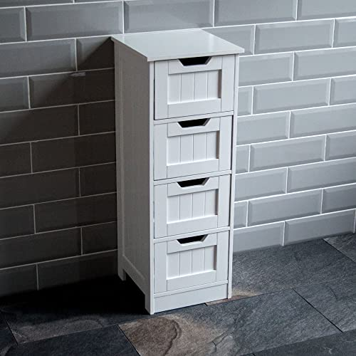 Tall White Shaker Style Bathroom Cabinet Free Standing