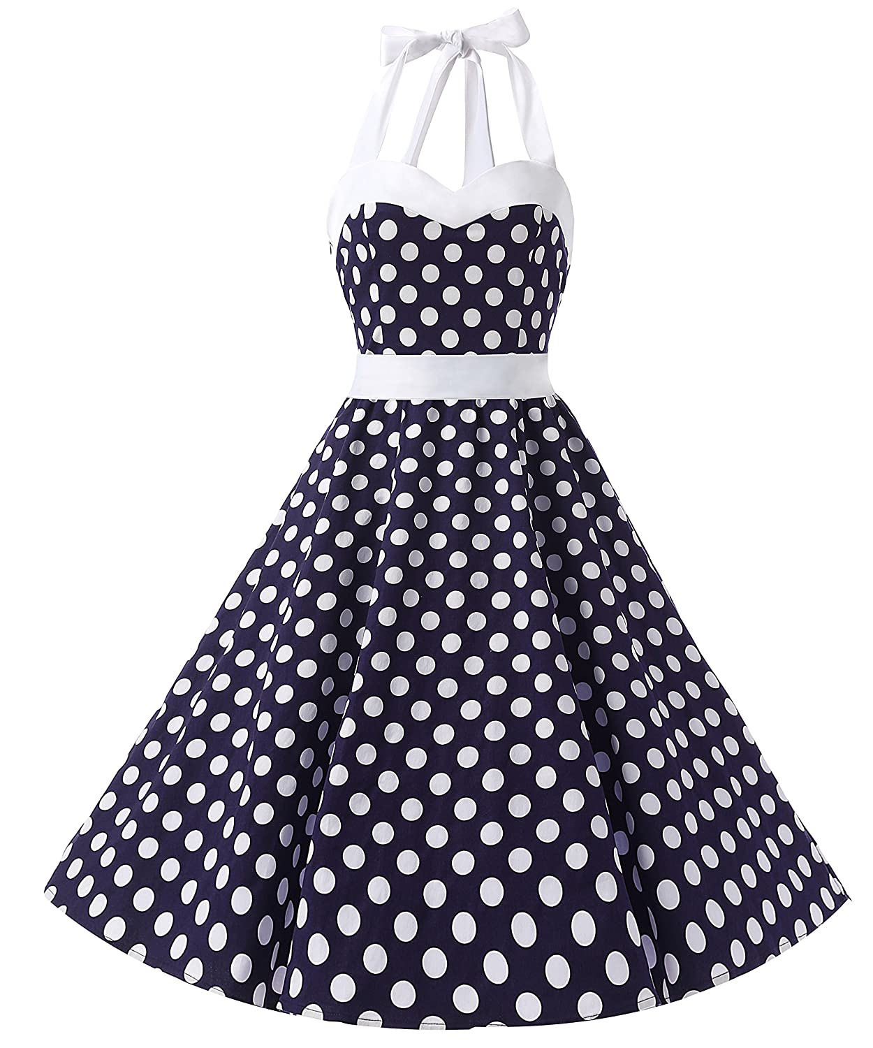 TALLA XL. Dresstells® Halter 50s Rockabilly Polka Dots Audrey Dress Retro Cocktail Dress Blue White Dot XL