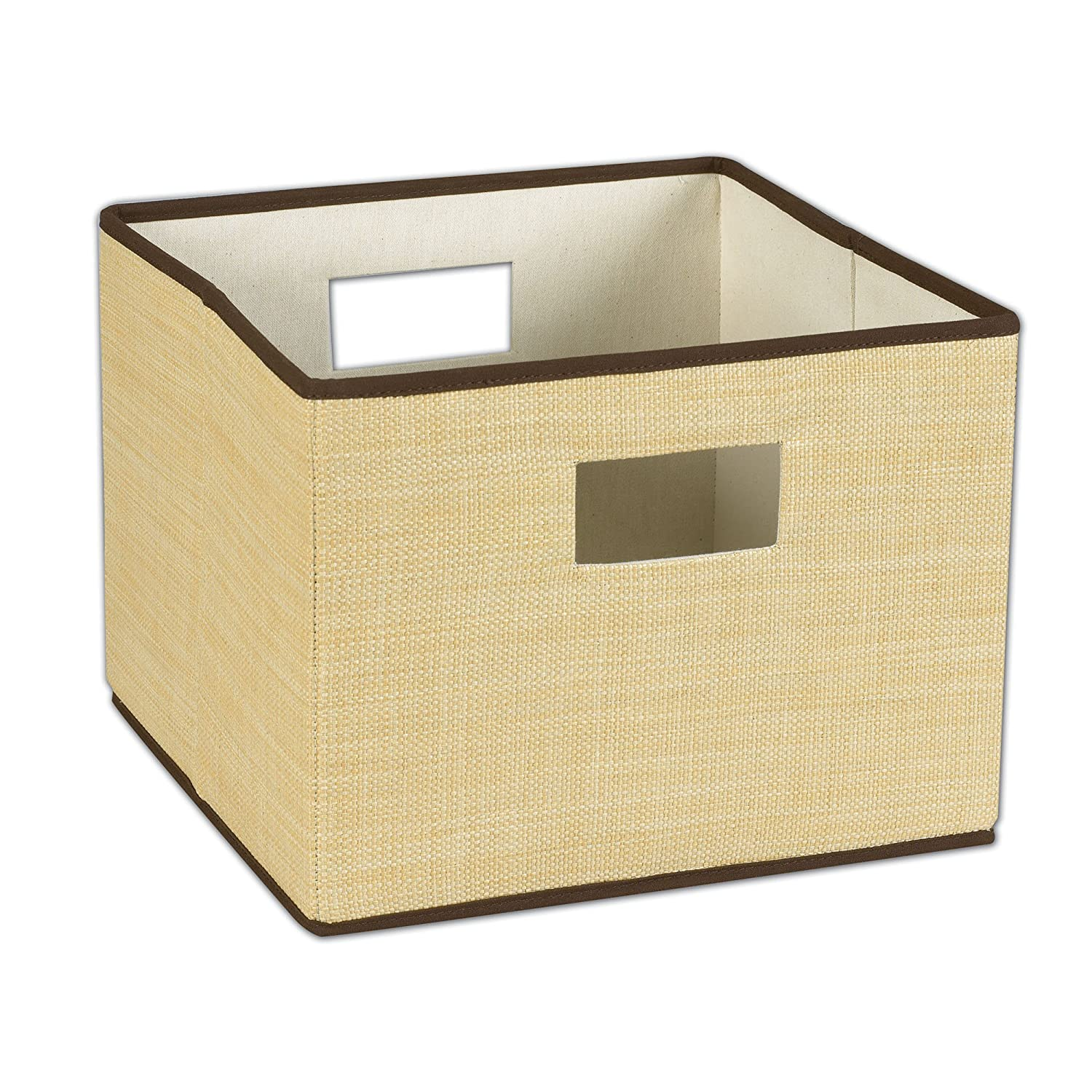 Superbe Amazon.com: Household Essentials Resin Storage Bin With Handles, Wheat With  Brown Trim: Home U0026 Kitchen