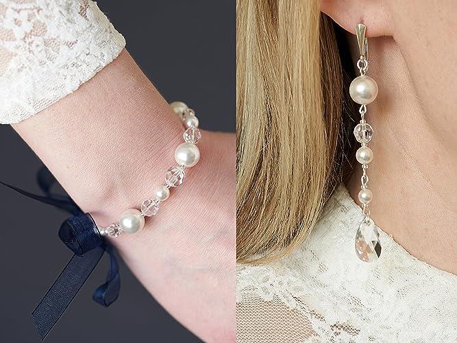 324ead7ca Bridal Jewelry Set Wedding Jewelry Set for Bride Drop Earrings Bracelet  Swarovski Pearl Crystal 925 Sterling Silver White Pearl Navy Blue Ribbon Set  for ...