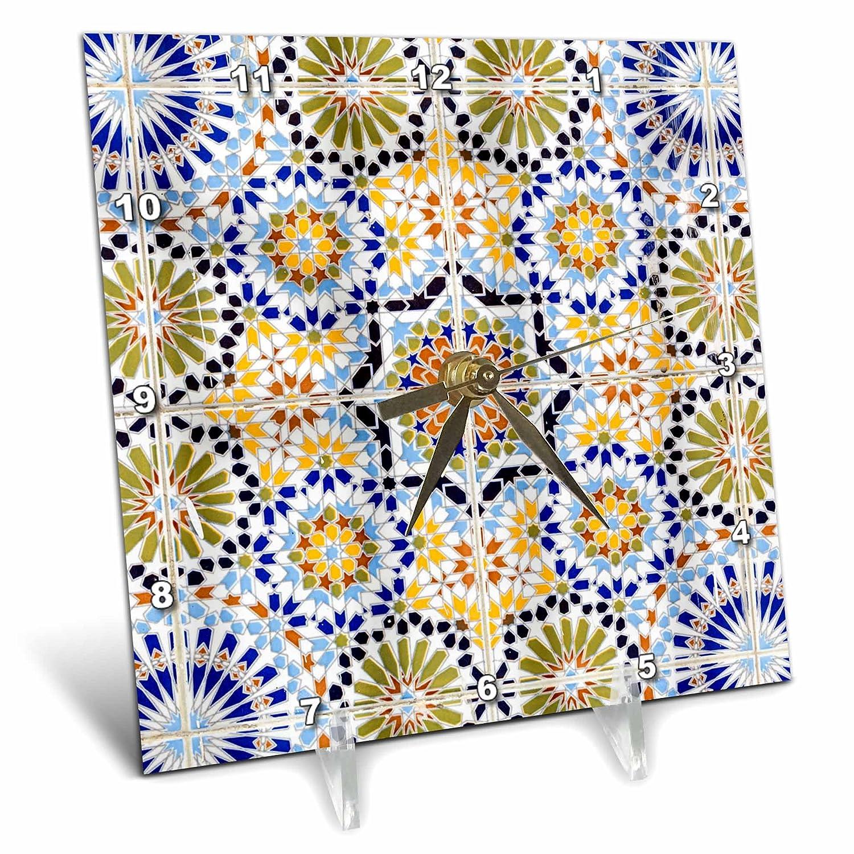 dc/_207528/_1 Saint-Louis or Ndar 6 by 6-inch 3dRose 3D Rose Senegal Desk Clock Moroccan Tiles Used in The Grande Mosque