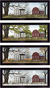 Trendy Decor4U Four Seasons II Collection by Billy Jacobs Ready to Hang Framed Print, 80 Inch x 8 Inch, 4 Piece