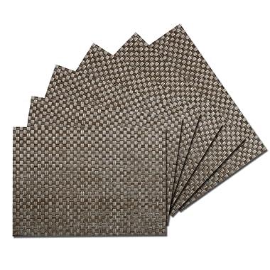 Benson Mills Heavyweight Woven Vinyl Placemats (13  X 18  Set of 6) (Charcoal/Grey)
