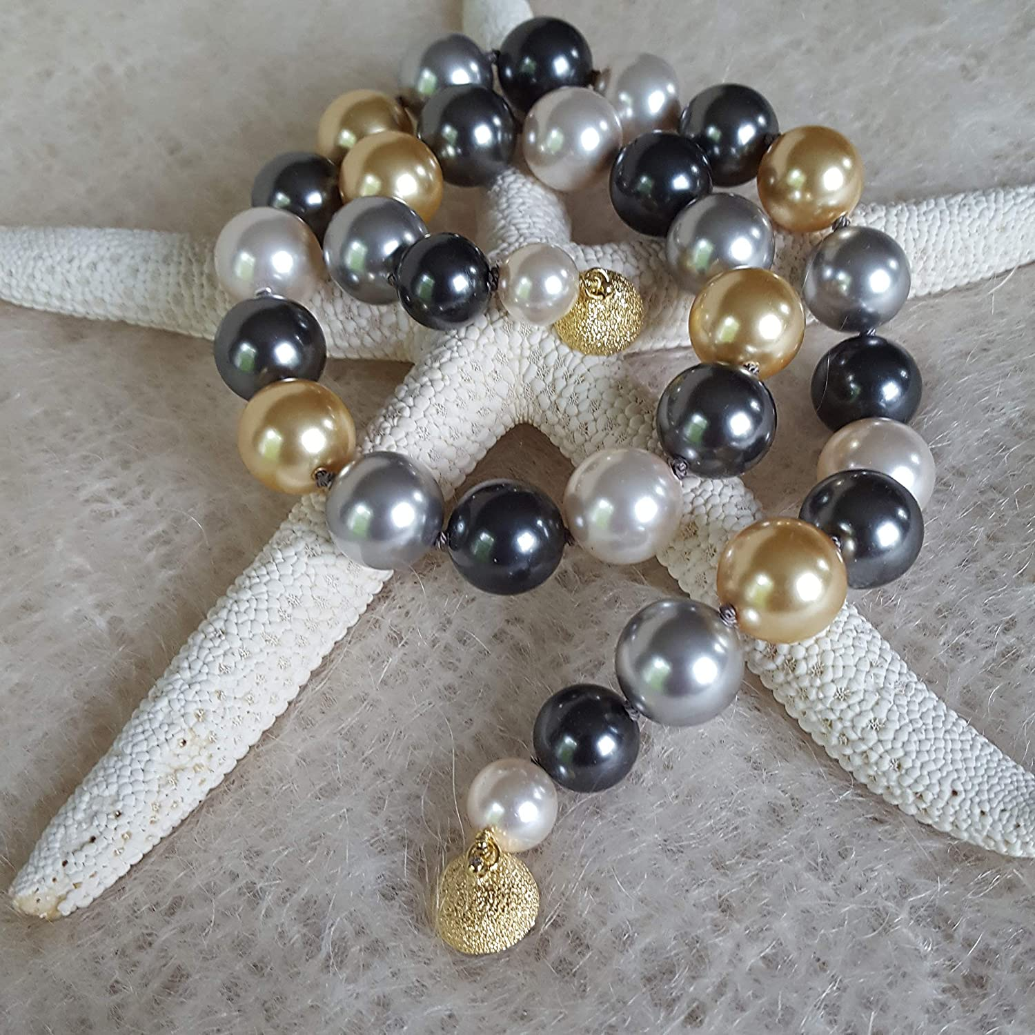 2 Row 8-14mm South Sea Multicolor shell pearl necklace