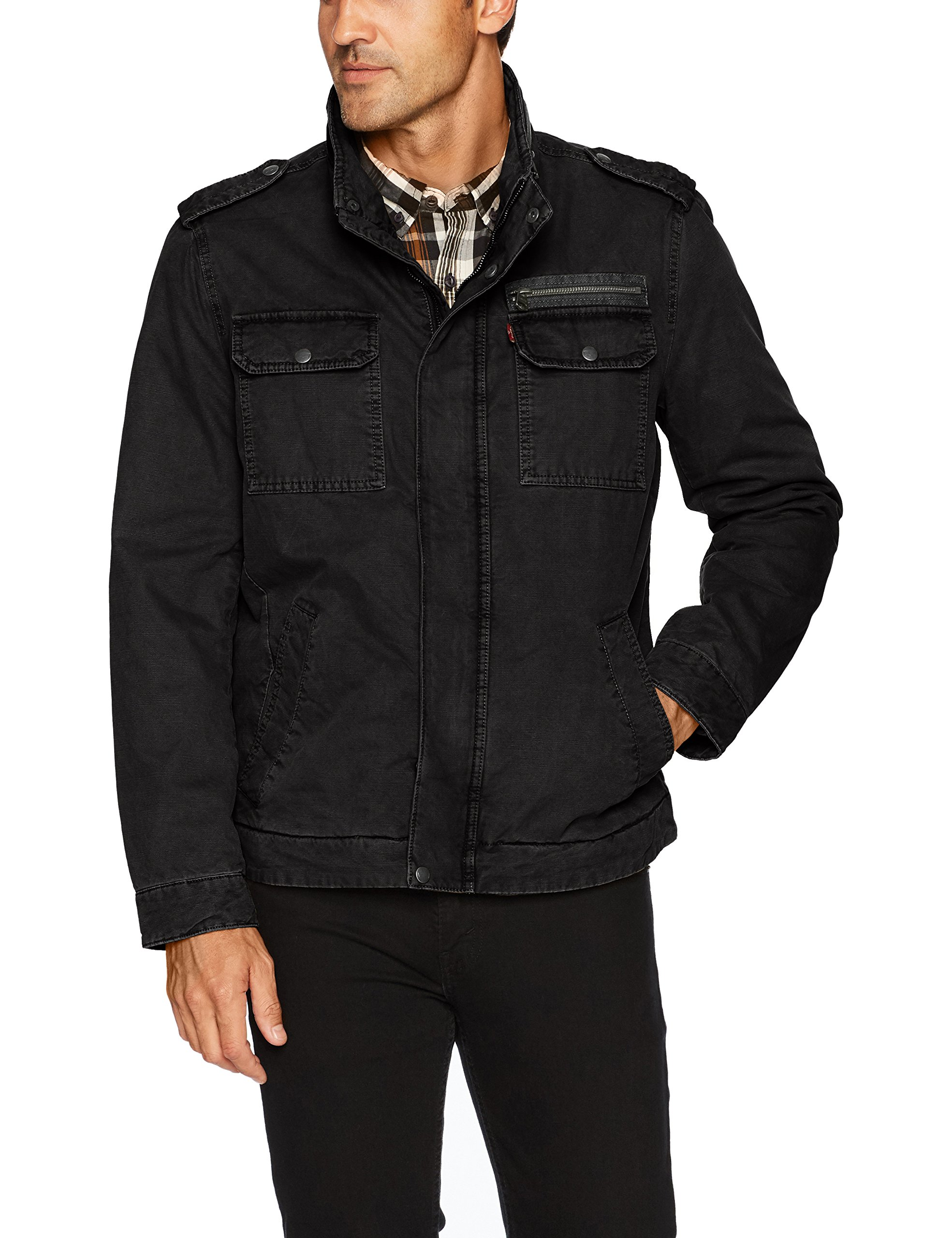 Levi's Men's Washed Cotton Two Pocket Military Jacket, Black, Small