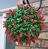Best artificial - Maceta con gancho (planta redonda de flores rojas, hojas alargadas, resistente a los rayos UV)