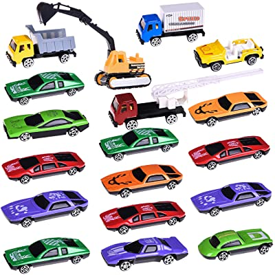 Car Toys with Construction Cars  Race Cars,18 P...