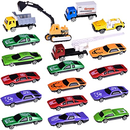 Car Toys With Construction Cars Race Cars 18 Pcs Diecast Cars Set For Goody Bag Stuffers Pinata Filler Xmas Gifts Stocking Stuffers For Boys