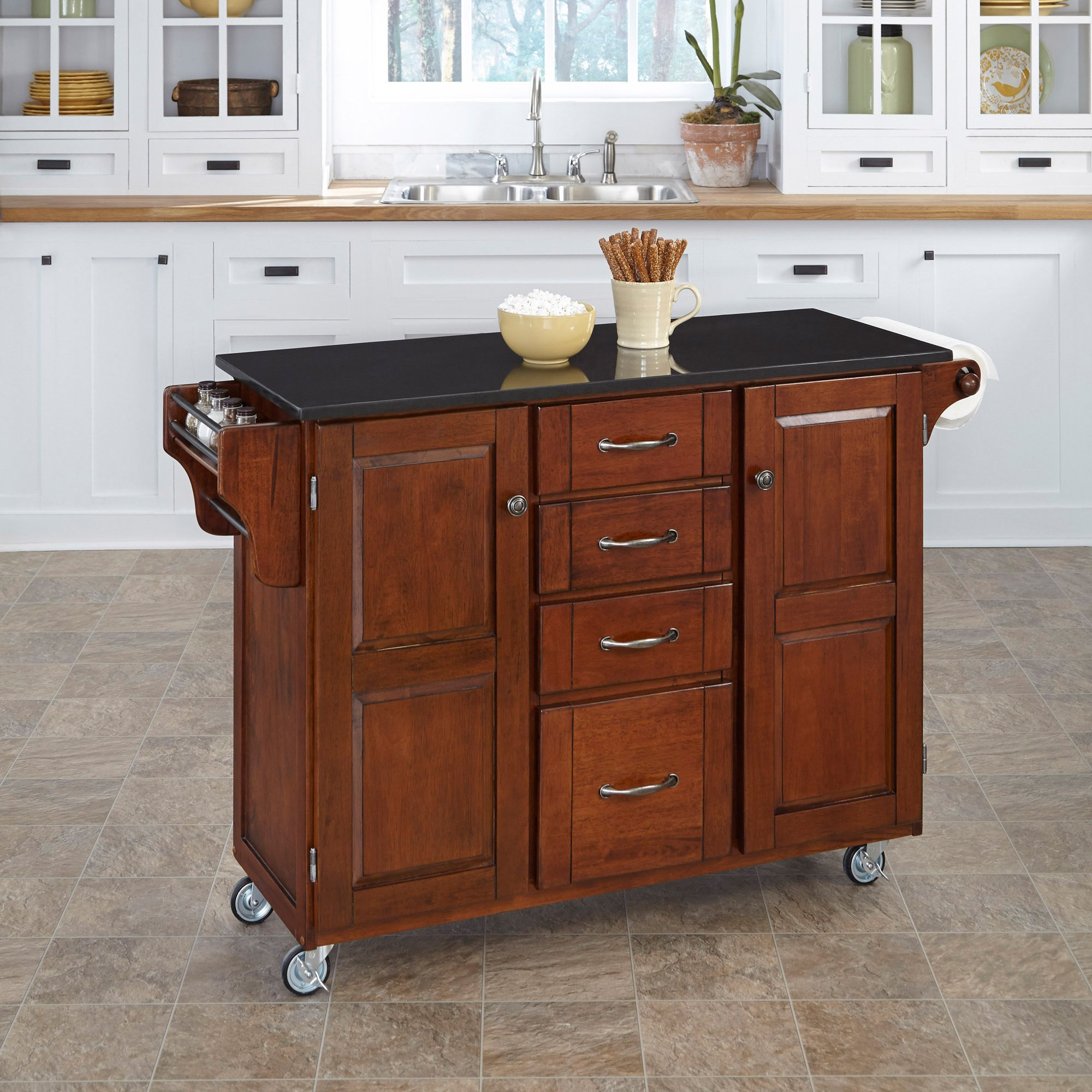 Beautiful Hardwood Kitchen Cart with a Nice Cherry Finish That Features a Black Granite Top with Plenty of Storage for Small Kitchens. Mouse Pad Included
