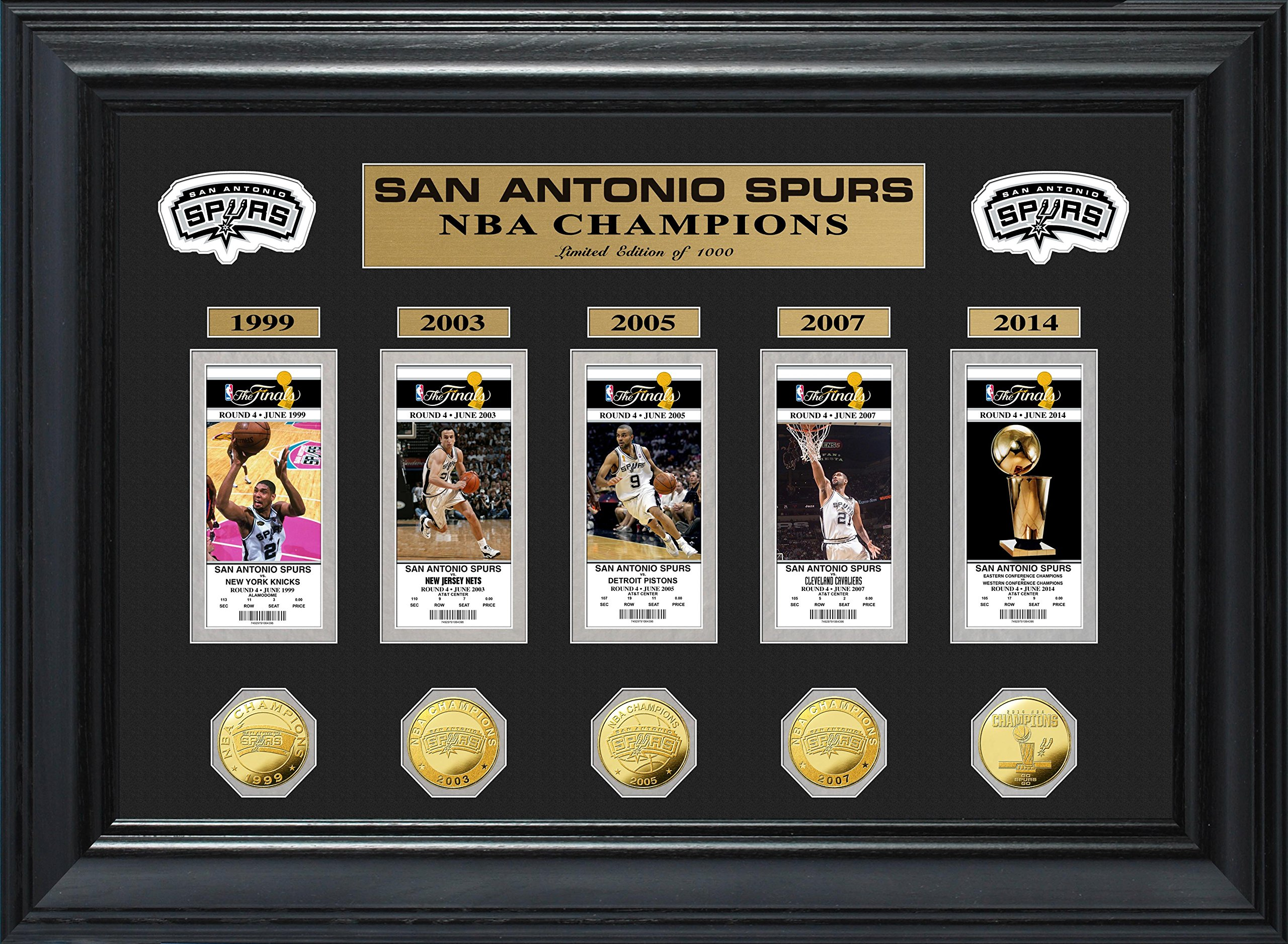 NBA San Antonio Spurs 5-Time Champions Deluxe Gold Game Coin & Ticket Collection, 32'' x 27'' x 4''