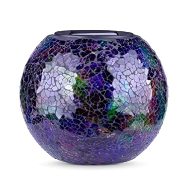 LED Solar Glass Balls | Outdoor Decorations for Porch | Patio Decor Mosaic Solar Table Lamp | Yard and Garden | Waterproof Rechargeable | 5.9  Width (Mosaic - Large)