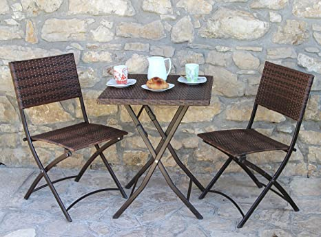 Tavolo Da Terrazzo Pieghevole : Homegarden set duetto pieghevole tavolo sedie in polirattan