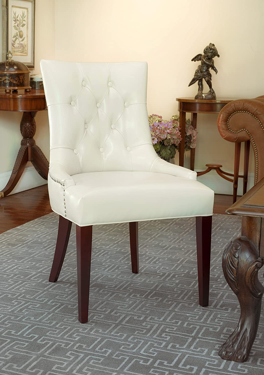 Safavieh Mercer Collection Erica Leather Button-Tufted Side Chair, Cream