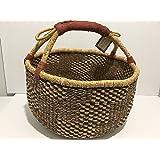 Bolga Baskets International Large Market Basket w/Leather Wrapped Handle