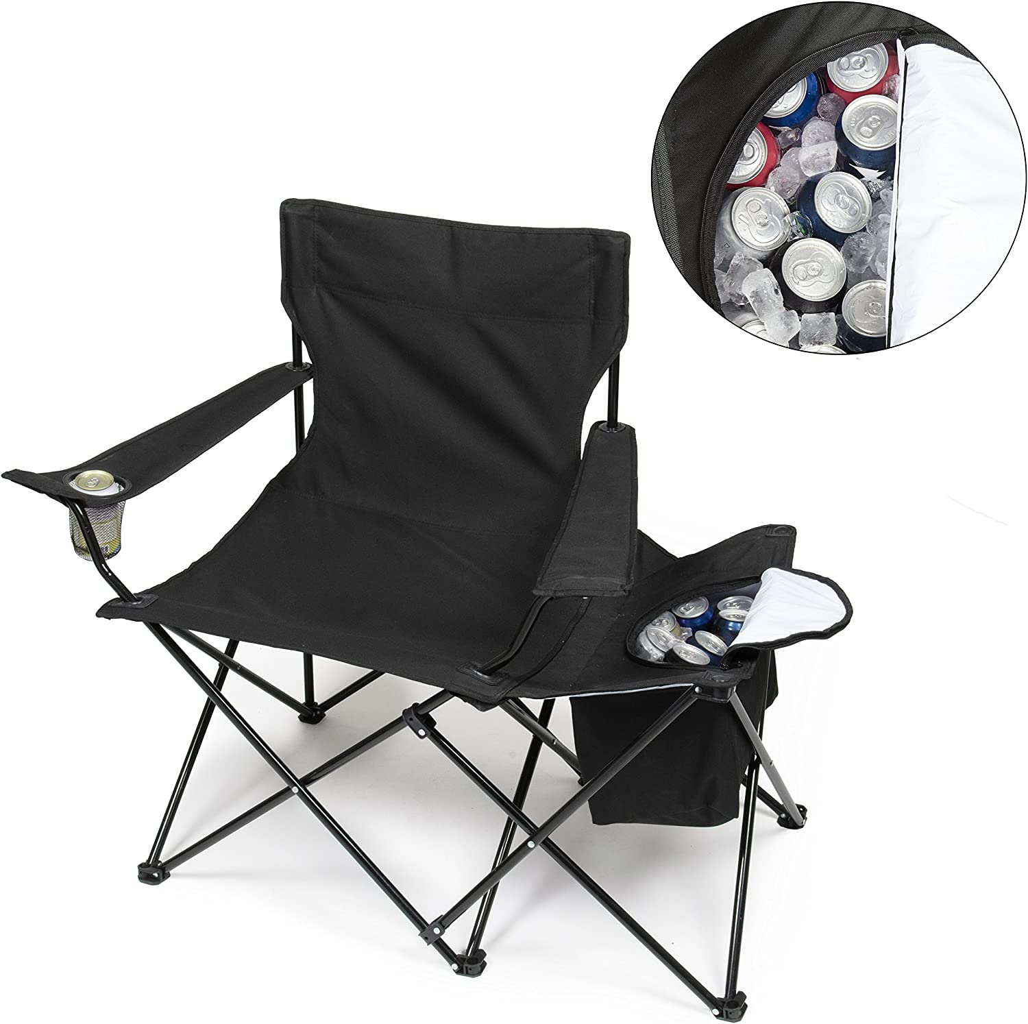 Tailgating Chair w Insulated Cooler- XXL Size Collapsible Folding Camping Chair w Cup Holder and Travel Bag