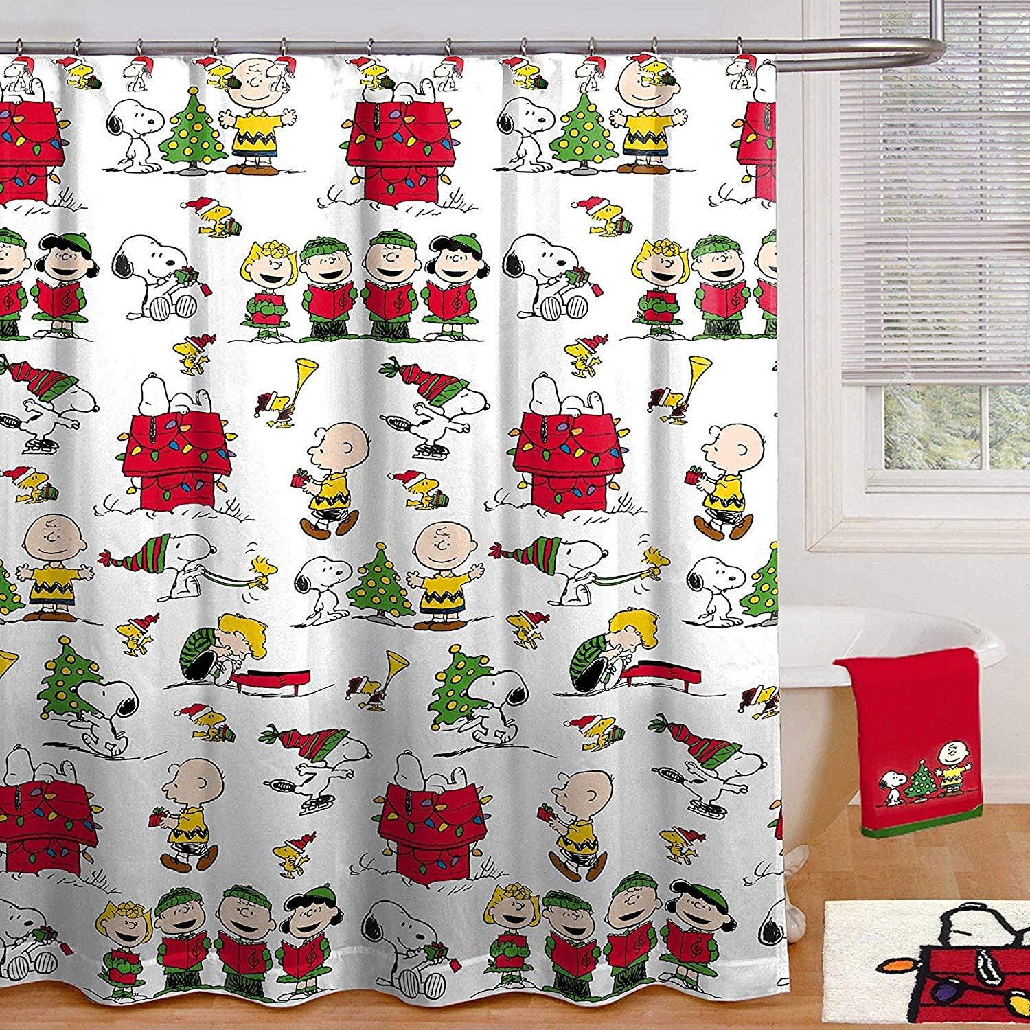 Amazon Com Peanuts Holiday Shower Curtain And Hook Set Home Kitchen