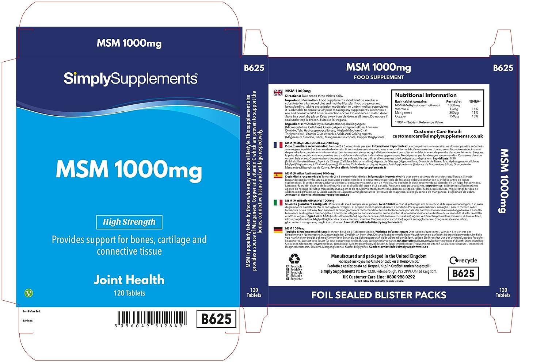 Metilsulfonilmetano MSM 1000mg - 120 cápsulas - Hasta 2 meses de suministro - Para la salud de tus articulaciones - SimplySupplements: Amazon.es: Salud y ...